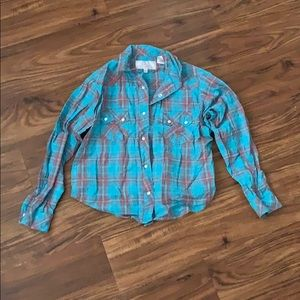 Girls pearl snap western shirt